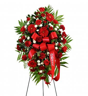 Funeral Flowers: Treasured Memories Standing Spray