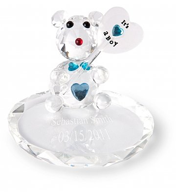 Personalized Keepsake Gifts: New Baby Boy Crystal Bear with Free Engraving