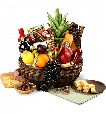 Wine & Fruit Baskets: Birthday Wine, Fruit & Gourmet