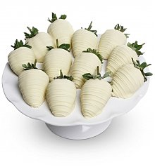 Desserts Confections Gifts: Belgian White Chocolate Covered Strawberries