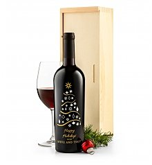 Wine Gifts: Holiday Tree Personalized Wine Bottle