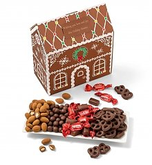 Gourmet Gift Baskets: Festive Chocolate and Nuts Gingerbread House