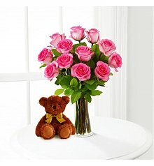Flower Bouquets: Pink Roses and Hugs with Vase